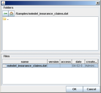 Figure 4: Browse for data file