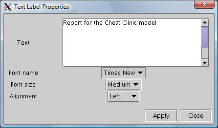 Figure 4: The text labels properties panel